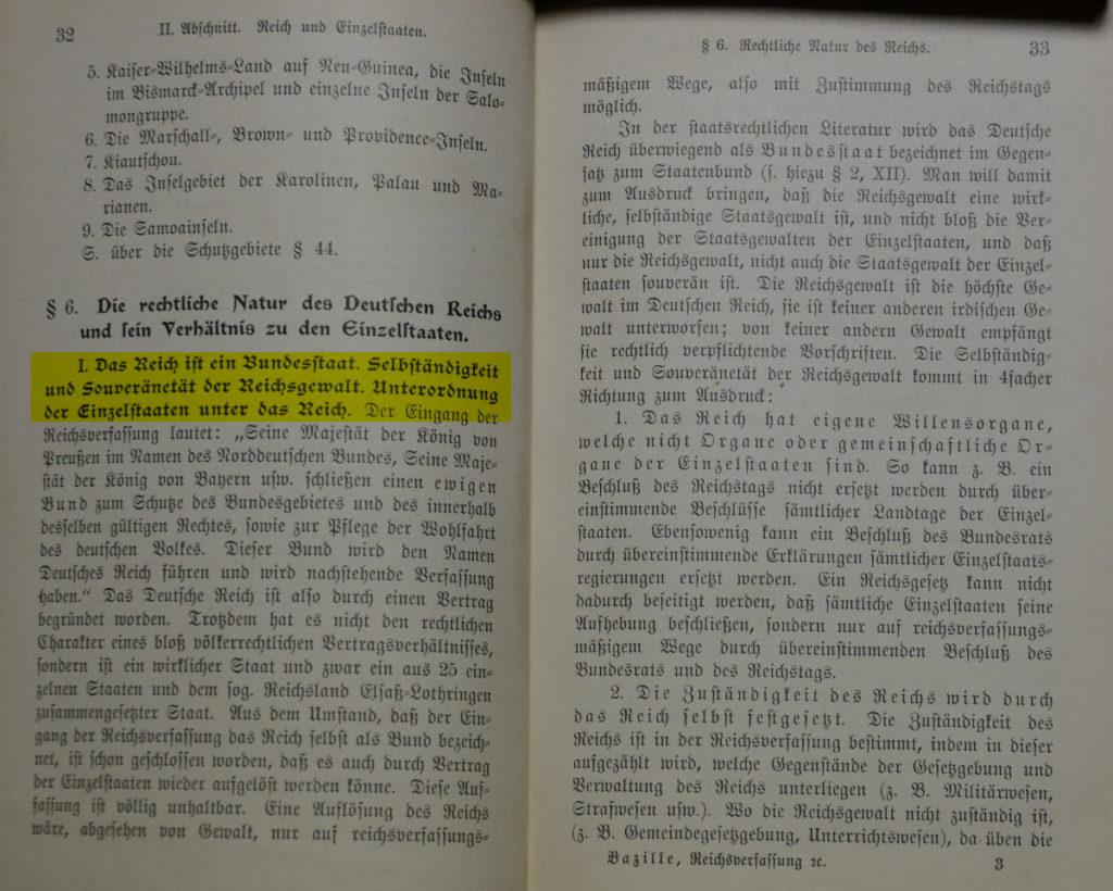 Rechtssubjekt Deutsches Reich bei Wilhelm Bazille