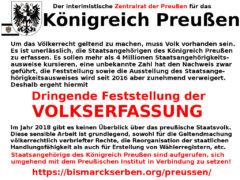 Aufruf des Zentralrats der Preußen zur Volkserfassung