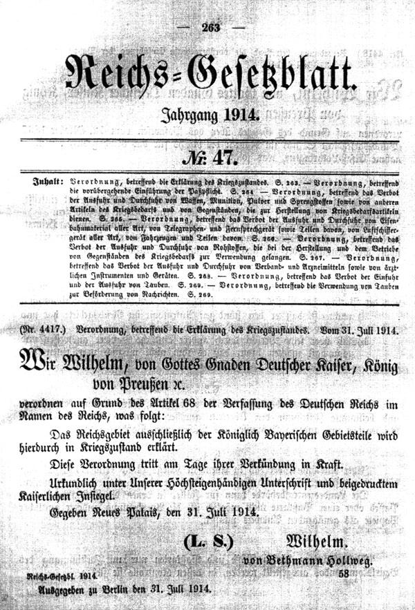 Reichsgesetzblatt mit Ausrufung des Kriegszustandes