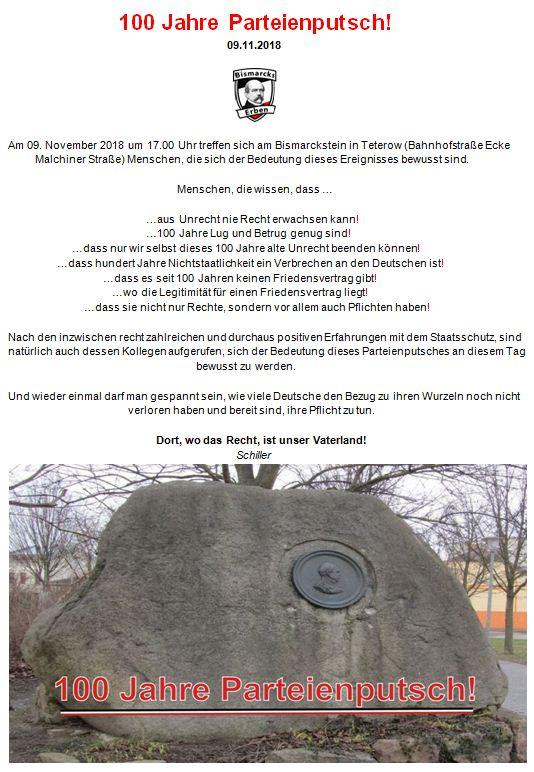 100 Jahre Parteienputsch am 9. November 1918