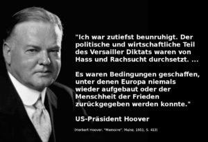 Herbert Hoover über den Versailler Vertrag